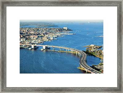 Aerial Of Downtown Portland, Maine Framed Print