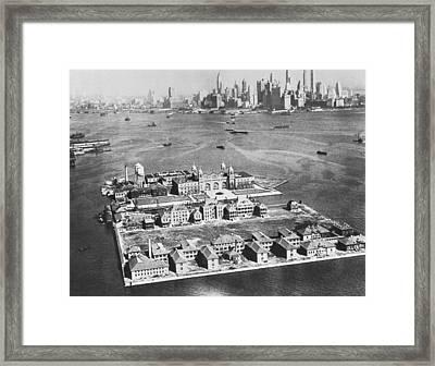 Aerial Of Ellis Island Framed Print by Underwood Archives