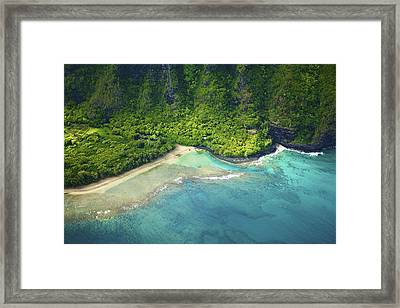 Aerial Of Kee Beach Framed Print by Kicka Witte