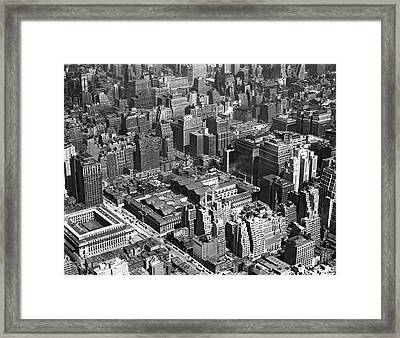 Aerial Of Pennsylvania Station Framed Print by Underwood Archives