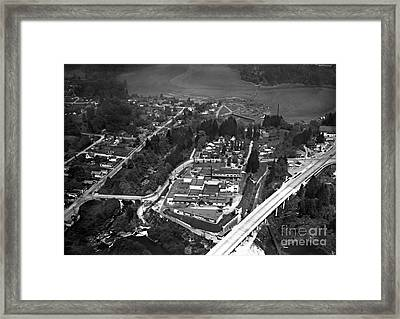 Framed Print featuring the photograph Aerial Old Tumwater 1947 by Vibert Jeffers