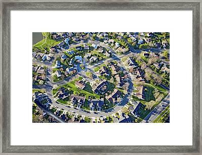 Aerial Pattern Of Residential Homes Framed Print