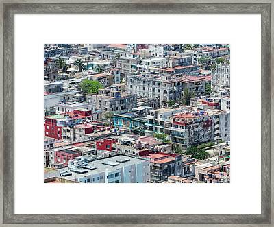 Aerial Perspective Of A Neighbourhood In Havana Cuba. Framed Print by Rob Huntley