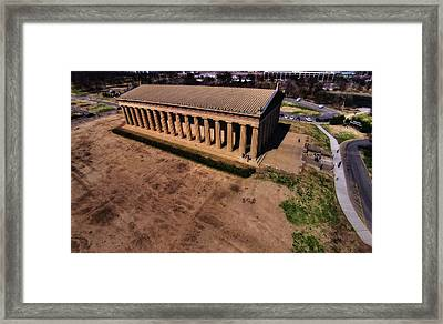 Aerial Photography Of The Parthenon Framed Print by Dan Sproul