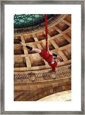 Aerial Ribbon Performer At Pennsylvanian Grand Rotunda Framed Print by Amy Cicconi
