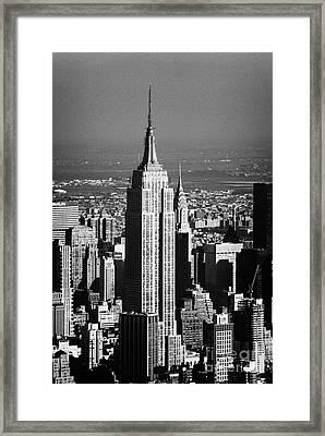 Aerial Shot Of Empire State Building New York City Usa Framed Print by Joe Fox