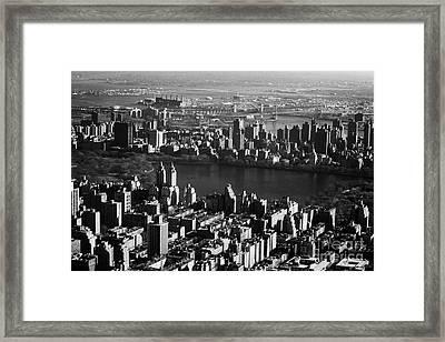 Aerial Shot Of Jacqueline Kennedy Onassis Reservoir In Central Park New York City Manhattan Framed Print by Joe Fox