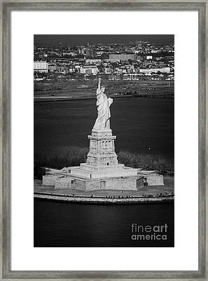 Aerial Shot Of The Statue Of Liberty Island New York Nyc Framed Print