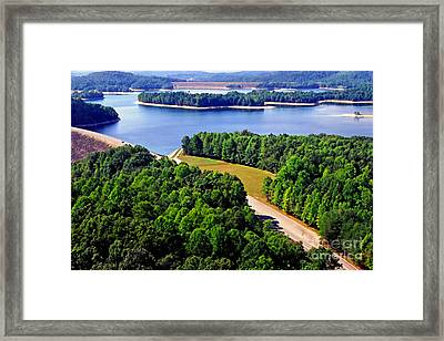 Aerial Summersville Dam And Lake Framed Print by Thomas R Fletcher