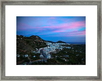 Aerial Sunset View Of Frigiliana, Costa Framed Print by Panoramic Images