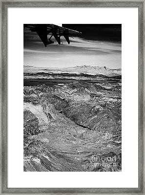 Aerial View Flying Over The Colorado River Arizona Nevada Border Below The Hoover Dam Usa Framed Print