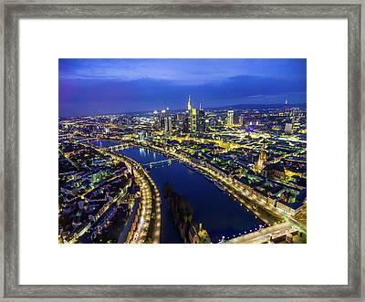 Aerial View. Germany, Frankfurt, River Framed Print by Malorny