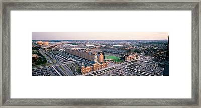 Aerial View Of A Baseball Field Framed Print