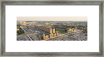 Aerial View Of A Baseball Stadium Framed Print