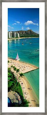 Aerial View Of A Beach, Diamond Head Framed Print by Panoramic Images
