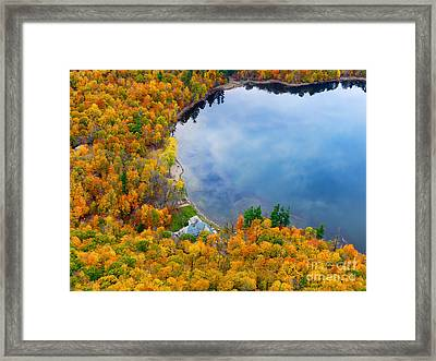 Aerial View Of A Canadian Lake In The Fall Season Framed Print