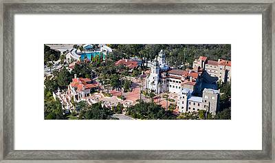 Aerial View Of A Castle On A Hill Framed Print