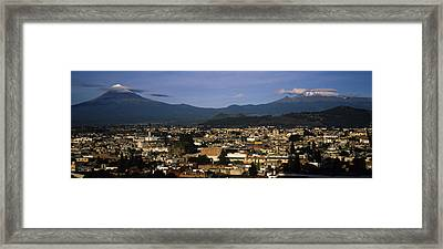 Aerial View Of A City A With Mountain Framed Print