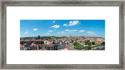 Aerial View Of A City, Aarhus, Denmark Framed Print