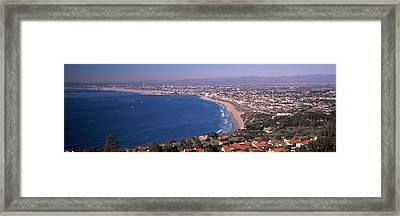 Aerial View Of A City At Coast, Santa Framed Print