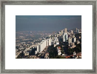 Aerial View Of A City, Haifa, North Framed Print