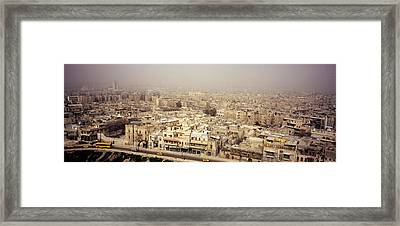 Aerial View Of A City In A Sandstorm Framed Print by Panoramic Images