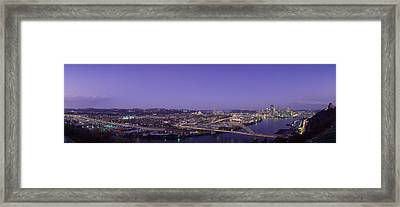 Aerial View Of A City, Pittsburgh Framed Print