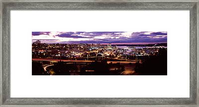 Aerial View Of A City, Tacoma, Pierce Framed Print by Panoramic Images