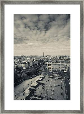 Aerial View Of A City Viewed From Notre Framed Print by Panoramic Images