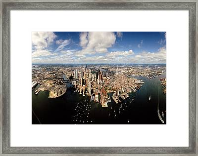 Aerial View Of A Cityscape, Boston Framed Print