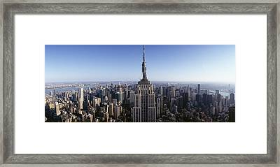 Aerial View Of A Cityscape, Empire Framed Print