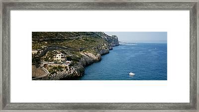 Aerial View Of A Coastline, Barcelona Framed Print