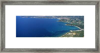 Aerial View Of A Coastline, Cote Dazur Framed Print