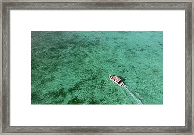 Aerial View Of A Diving Boat In Yap Framed Print