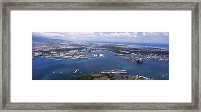Aerial View Of A Harbor, Pearl Harbor Framed Print