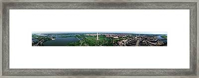 Aerial View Of A Monument, Tidal Basin Framed Print by Panoramic Images