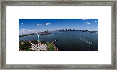 Aerial View Of A Statue, Statue Framed Print