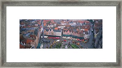 Aerial View Of A Town Square, Bruges Framed Print