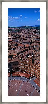 Aerial View Of A Town Square In A City Framed Print by Panoramic Images