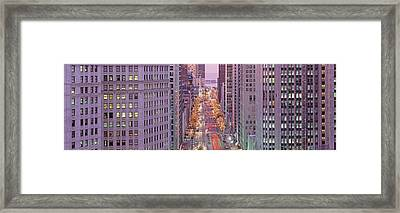 Aerial View Of An Urban Street Framed Print