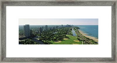 Aerial View Of Apartment Buildings Framed Print by Panoramic Images