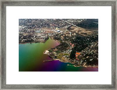Aerial View Of Bay. Rainbow Earth Framed Print