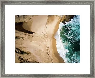 Aerial View Of Beach And Sea Framed Print by Aolin Li / Eyeem