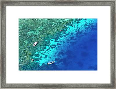 Aerial View Of Beach, Palau Framed Print by Keren Su