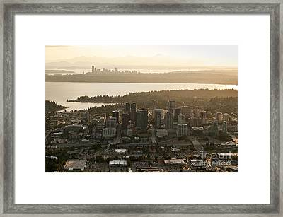 Aerial View Of Bellevue Skyline Framed Print