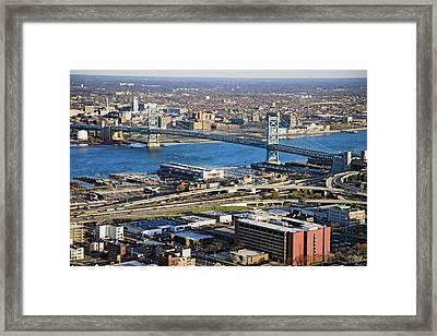Aerial View Of Ben Franklin Bridge Framed Print