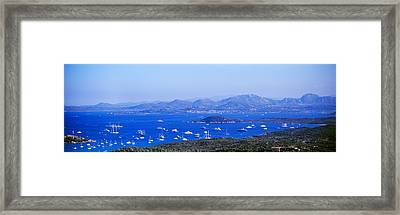 Aerial View Of Boats In The Sea, Costa Framed Print by Panoramic Images