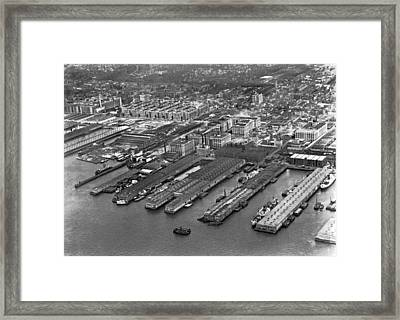 Aerial View Of Brooklyn Docks Framed Print