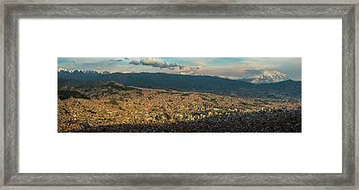 Aerial View Of City, El Alto, La Paz Framed Print