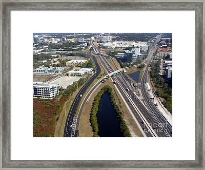 Aerial View Of City Of Tampa Framed Print by Lingfai Leung